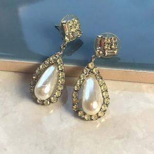 Vintage Rhinestone Earrings Prom Wedding Dangle